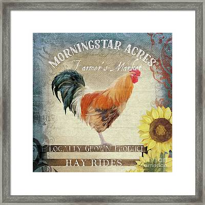 Farm Fresh Barnyard Rooster Morning Sunflower Rustic Framed Print