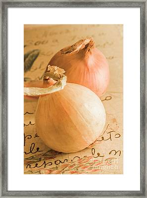 Farm Fresh Brown Onions On An Old Recipe Framed Print by Jorgo Photography - Wall Art Gallery