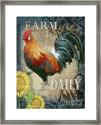 Framed Print featuring the painting Farm Fresh Daily Red Rooster Sunflower Farmhouse Chic by Audrey Jeanne Roberts