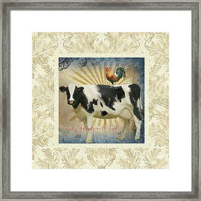 Framed Print featuring the painting Farm Fresh Damask Milk Cow Red Rooster Sunburst Family N Friends by Audrey Jeanne Roberts