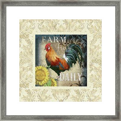 Framed Print featuring the painting Farm Fresh Damask Red Rooster Sunflower by Audrey Jeanne Roberts