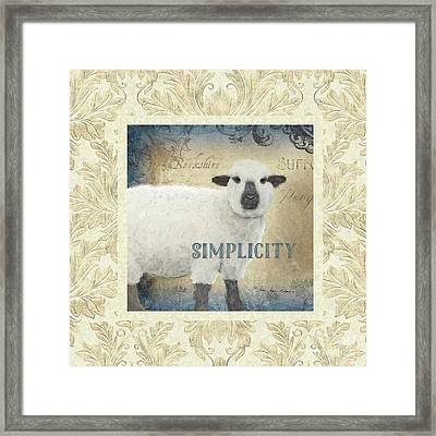 Framed Print featuring the painting Farm Fresh Damask Sheep Lamb Simplicity Square by Audrey Jeanne Roberts