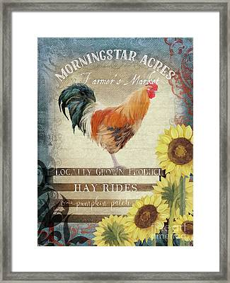 Framed Print featuring the painting Farm Fresh Morning Rooster Sunflowers Farmhouse Country Chic by Audrey Jeanne Roberts