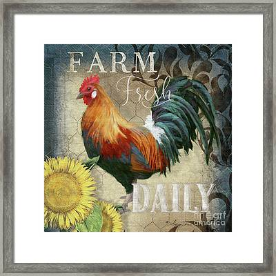 Framed Print featuring the painting Farm Fresh Red Rooster Sunflower Rustic Country by Audrey Jeanne Roberts