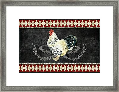 Framed Print featuring the painting Farm Fresh Rooster 3 - On Chalkboard W Diamond Pattern Border by Audrey Jeanne Roberts