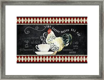 Framed Print featuring the painting Farm Fresh Rooster 5 - Coffee Served Chalkboard Cappuccino Cafe Latte  by Audrey Jeanne Roberts