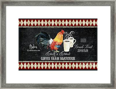 Framed Print featuring the painting Farm Fresh Rooster 6 - Coffee Bean Roasterie French Roast by Audrey Jeanne Roberts