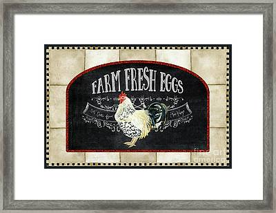 Framed Print featuring the painting Farm Fresh Roosters 1 - Fresh Eggs Typography by Audrey Jeanne Roberts