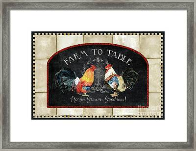 Framed Print featuring the painting Farm Fresh Roosters 2 - Farm To Table Chalkboard by Audrey Jeanne Roberts