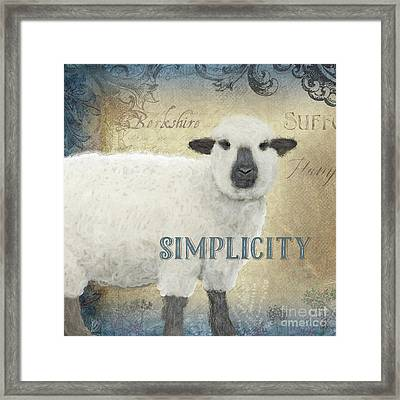 Framed Print featuring the painting Farm Fresh Sheep Lamb Simplicity Square by Audrey Jeanne Roberts