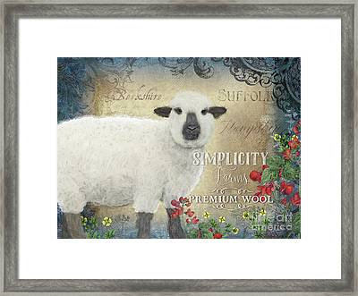 Framed Print featuring the painting Farm Fresh Sheep Lamb Wool Farmhouse Chic  by Audrey Jeanne Roberts