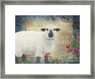 Farm Fresh Sheep Lamb Wool Farmhouse Chic  Framed Print