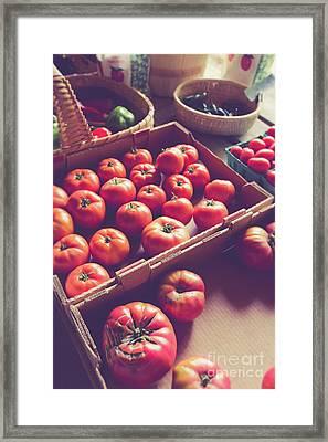Farm Fresh Tomatoes At A Farm Stand Framed Print