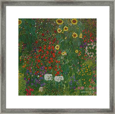 Farm Garden With Flowers Framed Print by Gustav Klimt