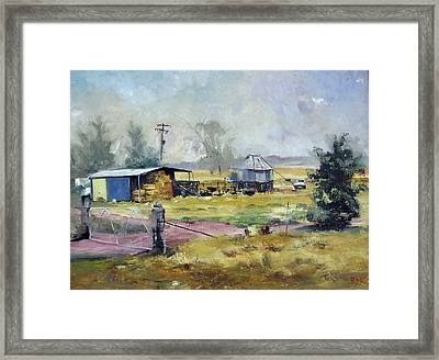 Farm Hayshed At Cowra, Nsw, Australia Framed Print by Michael Rogers