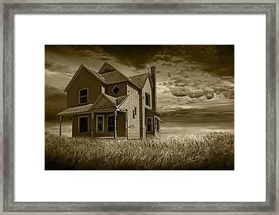 Farm House At Sunset In Sepia Framed Print