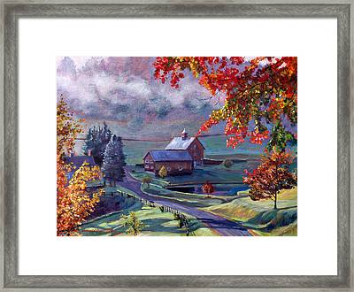 Farm In The Dell Framed Print by David Lloyd Glover