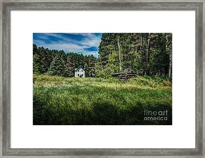 Farm In The Woods Framed Print