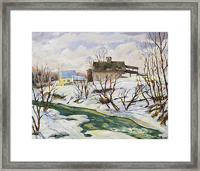 Farm In Winter Framed Print by Richard T Pranke