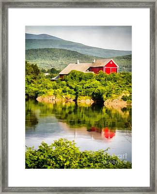 Farm Landscape Painting Framed Print by Edward Fielding