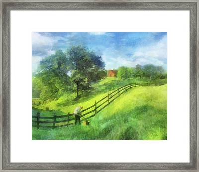 Farm On The Hill Framed Print by Francesa Miller