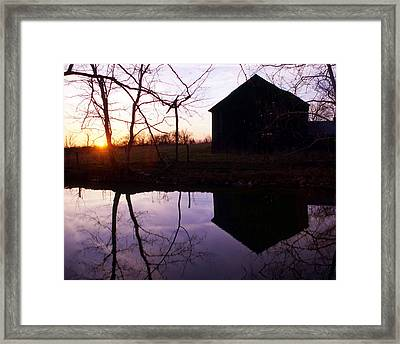 Farm Pond At Sunset Framed Print by George Ferrell