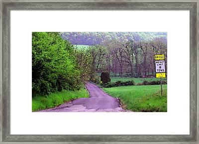 Framed Print featuring the photograph Farm Road by Susan Carella
