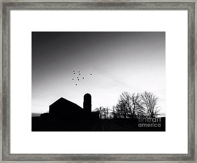 Farm Silhouette B/w Framed Print