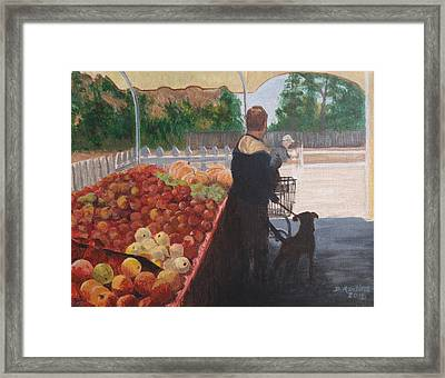 Farm Stand Dog Framed Print by Donna Rollins