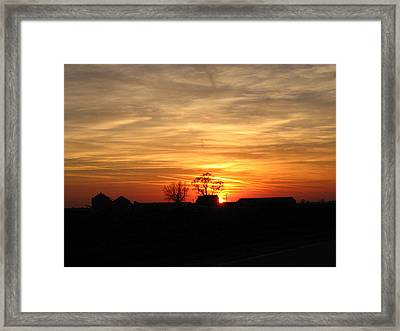 Farm Sunset Framed Print by Jack G  Brauer
