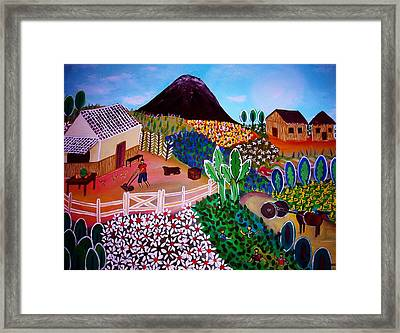 Farm Town Framed Print by Pristine Cartera Turkus