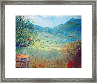 Farm View Near Davis Mountains Framed Print by Richalyn Marquez