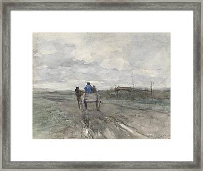 Farm Wagon On A Country Road Framed Print
