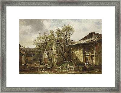 Farm With Farmer And Animal Framed Print