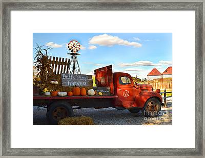 Farm With Red Truck In Fall  Framed Print