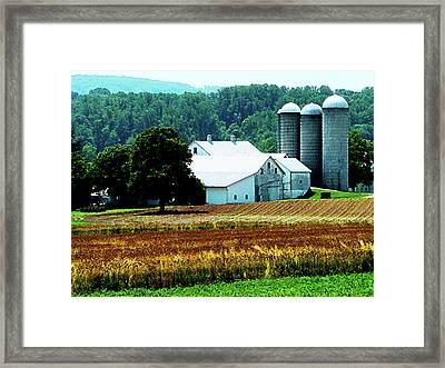 Farm With White Silos Framed Print by Susan Savad