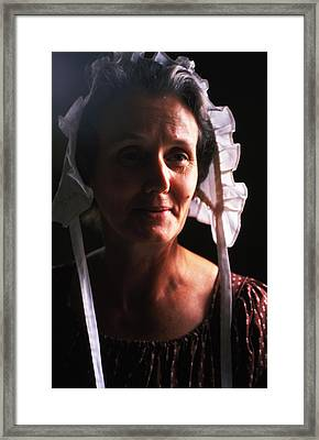 Farm Woman In Bonnet Framed Print by Carl Purcell