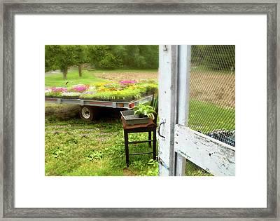 Farm Yard Door Framed Print by Diana Angstadt