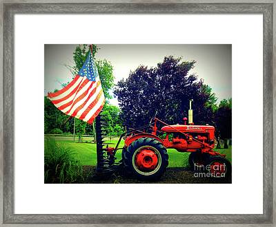 Farmall And Flag Framed Print