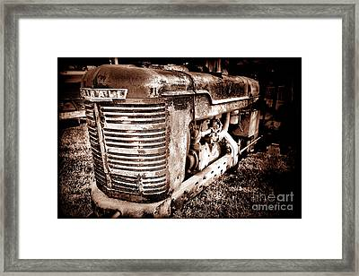 Farmall H Grunge Framed Print by Olivier Le Queinec