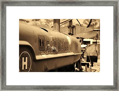 Farmall Logo In Sepia Framed Print by Lynda Dawson-Youngclaus