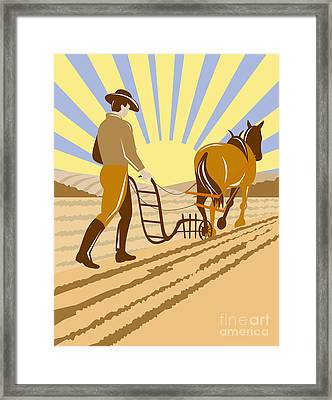 Farmer And Horse Plowing Framed Print by Aloysius Patrimonio