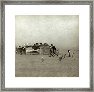 Farmer And Sons Walking In The Face Framed Print by Everett