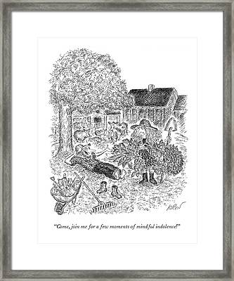 Farmer Breaks And Takes His Shoes Off. Framed Print