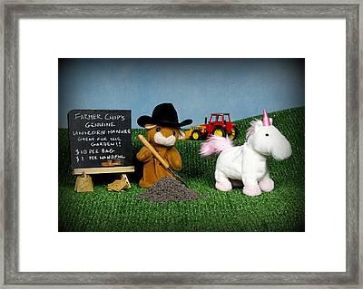 Farmer Chip's Genuine Unicorn Manure Framed Print