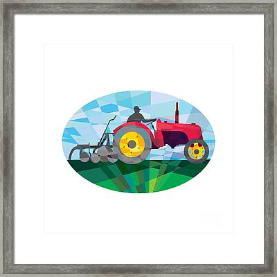 Farmer Driving Vintage Farm Tractor Oval Low Polygon Framed Print