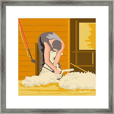 Farmer Farmworker Shearing Sheep Wpa Framed Print by Aloysius Patrimonio