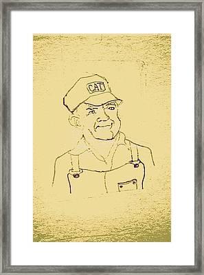 Farmer In Cat Hat Framed Print by Sheri Buchheit