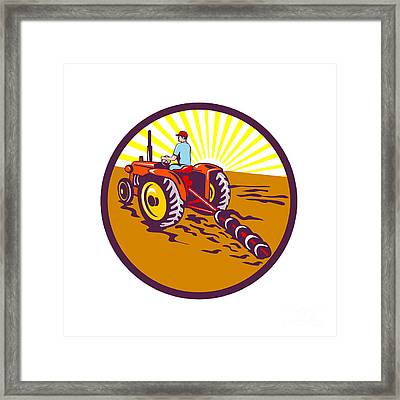 Farmer On Tractor Circle Retro Framed Print