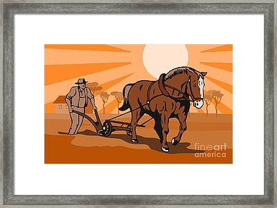 Farmer Plowing Field Framed Print by Aloysius Patrimonio